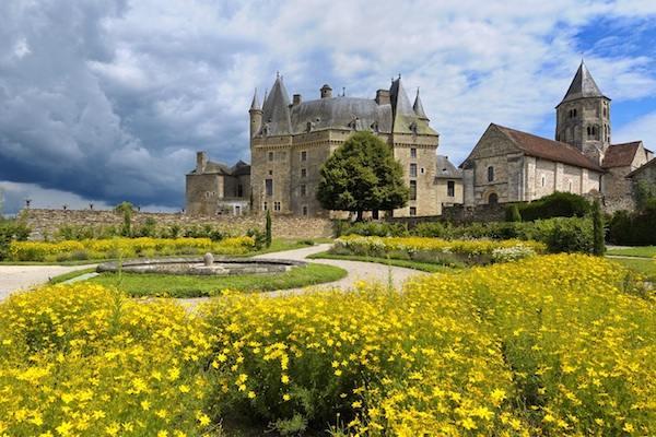 Vue des jardins château de Jumilhac